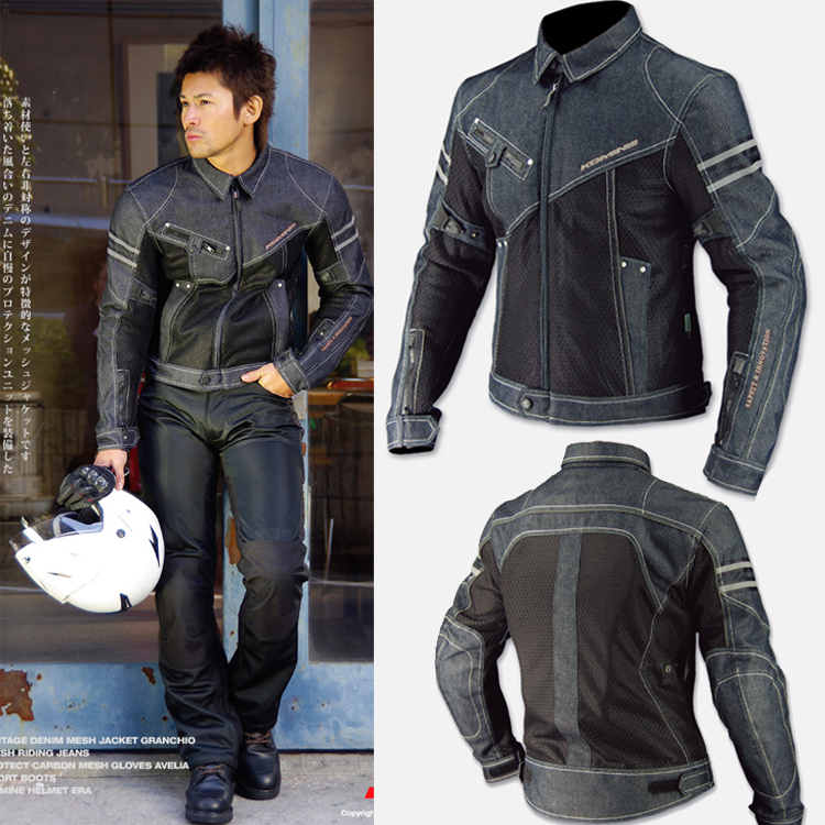 Wholesale NEW FOR Komine JK-006 Cowboy Clothing Motorcycle Mesh Jacket Cycling Denim Jacket Anti-fall Jackets