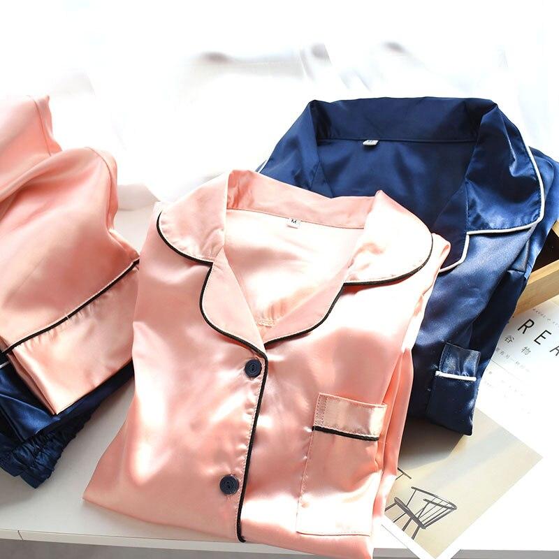 Атласный пижамный комплект, одежда для сна для пар, шелковая длинная и короткая Пижама на пуговицах, костюм, пижама для женщин и мужчин, дома...