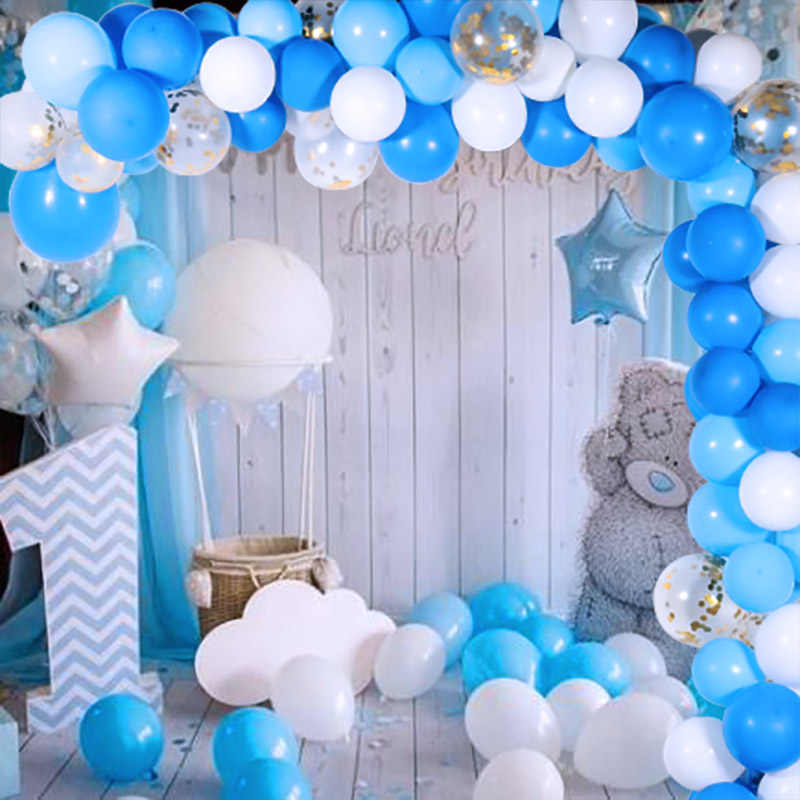 1 Year Happy Birthday Confetti Balloons Foil Number Balloons 1st Birthday Baby Boy Party Decorations Anniversaire Party Supplies Ballons Accessories Aliexpress