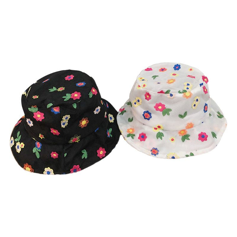 Women Summer Thin Lace Bucket Hat Sweet Cute Colorful Small Flower Embroidery Travel Sunscreen Adjustable Fisherman Cap