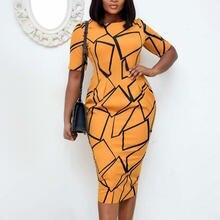 Элегантное платье bodycon геометрические узоры печать женские