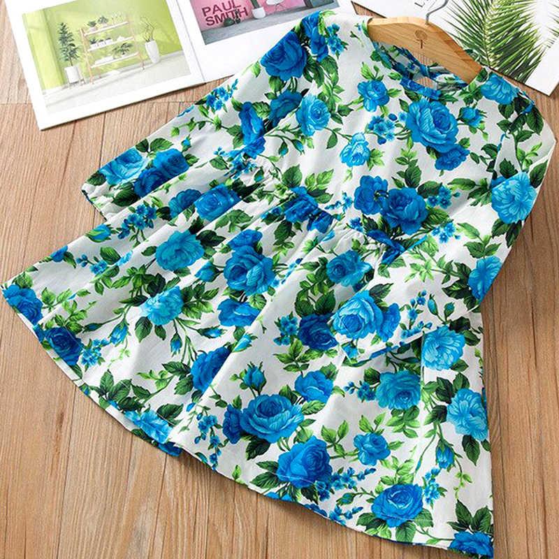 Sukienka dla dziewczynki śliczna dziecięca tkanina bez rękawów kwiat wydruku bawełniana i lniana sukienka kwiatowa dziewczynka wiosna letnia sukienka