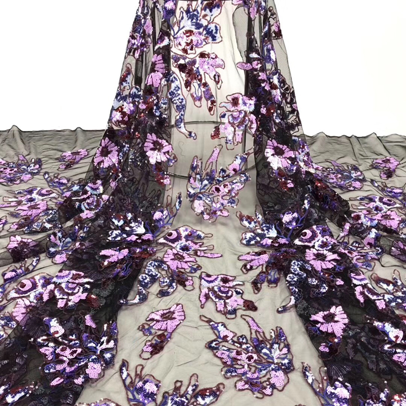 African Lace Fabric 2020 African Wonderful Embroidered With Sequins High Quality Tulle French Lace Fabric For Evening Dress