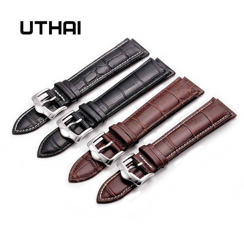 UTHAI Z20 Leather Watchband Crocodile Pattern Strap 14mm 16mm 18mm 20mm 22mm 24mm Silver Metal Buckle Clasp Women Men Watch Band