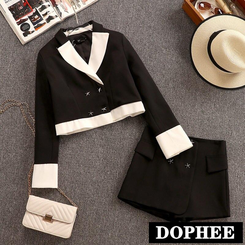 Coréen petit parfum femmes nouveau automne court laine Blazer costume veste + large jambe courte pantalon deux pièces dame ensemble court