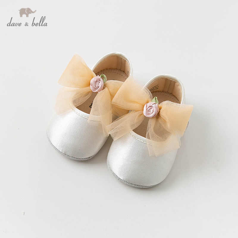 DB12877 Dave Bella Baby Girls Soft First Walkers Baby Brand Shoes Bow-knot