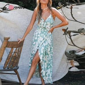 Image 2 - Conmoto lato wzburzyć plaża długie sukienki w stylu casual kobiety sexy spaghetti pasek sukienka damska kwiatowy, bez pleców plus rozmiar sukienka vestidos