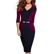Профессиональное женское Элегантное повседневное деловое офисное классическое платье с v-образным вырезом и поясом, контрастное облегающее платье-карандаш EB354