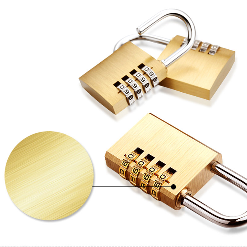 Padlock NEW for Room Suitcase Travel Mini Security Tool 4 Digits Number Pure  Cooper Brass