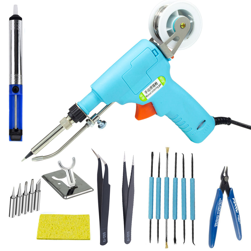 Manual Soldering Gun Kit 110V 220V 60W Tin Soldering Iron Kit Automatic Send Tin Tool Internal Heating Type Gun For Electronics