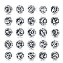 WOSTU auténticos encantos de Plata de Ley 925 Vintage A-Z letra de alfabeto se ajustan a pulseras dijes y brazaletes de originales joyería de plata