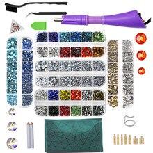 EU/US 3 pudełka Hot Fix dżetów zestaw/szkło kryształowe termiczny aplikator do dżetów żelazko na różdżkę Strass Rhinestone narzędzie naprawcze ciepła pistolet