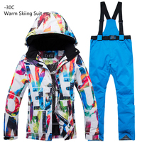 New Thick Warm Ski Suit Set Men Waterproof Skiing Snowboard Jacket Pants Suit Women Winter Windproof Male Plus Size 3XL Costumes