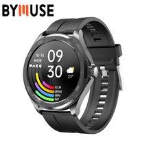Bymuse 2021 novo relógio inteligente masculino para android & ios bluetooth 5.0 dial chamada relógio esportes monitor de freqüência cardíaca redonda relógios inteligentes