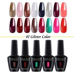 NAILCO 47 COLORS Nail Gel Polish 15 ML Glitter Varnish Soak Off UV LED Black bottle Lacquer Semi Permanent Art Varnish Hybrid