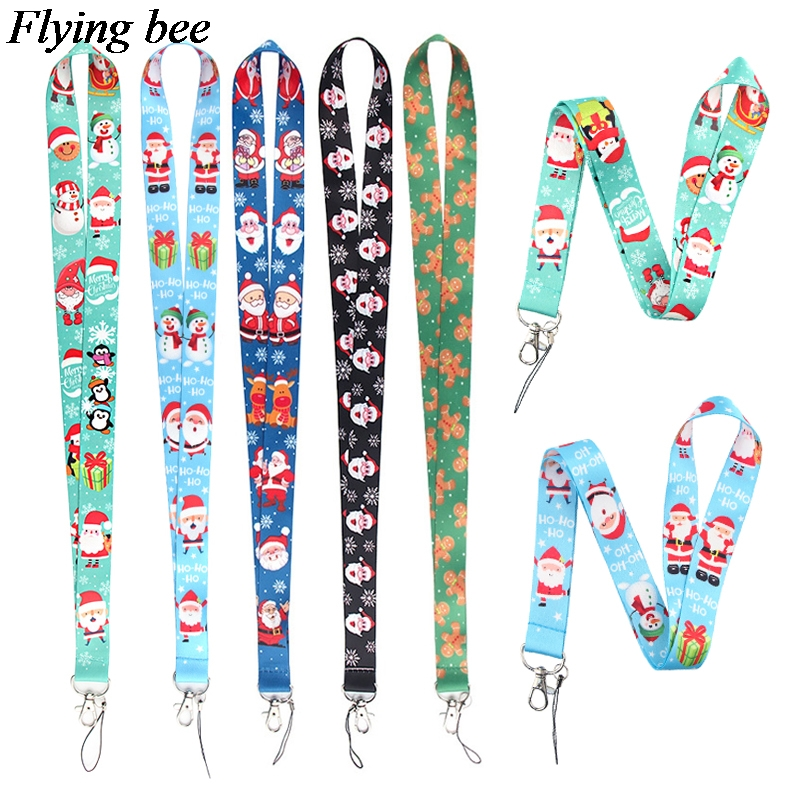 20pcs/lot Flyingbee Christmas Series Keychain Phone Lanyard Cartoon Punk Neck Strap For Keys ID Card Mobile Phone Lanyards X0654