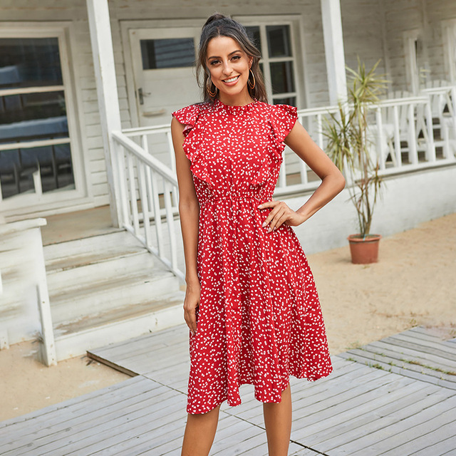 Summer Women Dress Lovely Print Chiffon Loose Dress Red Polka Print Pure And Sweet Dresses Fashion Ruffled Tea Break Dress 2021 1