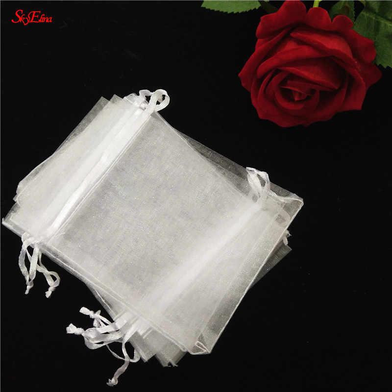 100 шт. 7x9 9x12 10x15 11x16 13x18 15x20 17x23 см органзы мешки для ювелирных изделий, мешки для упаковки Саше подарочные мешочки 7Z