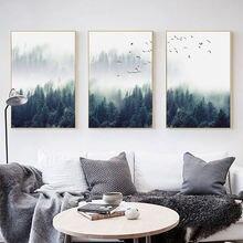 Скандинавское украшение лес пейзаж холст живопись туманная стена
