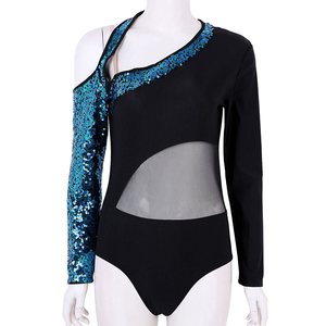 Image 2 - Women Shiny Sequins Long Sleeves Mesh Splice Ballet Gymnastics Leotard Ballerina Rave Stage Performance Lyrical Dance Costumes