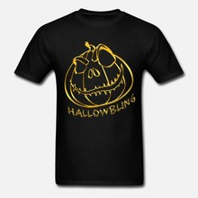 Men t shirt Halloween Pumpkin Gold Bling Bling Pumpkin Gift Women t shirt(China)