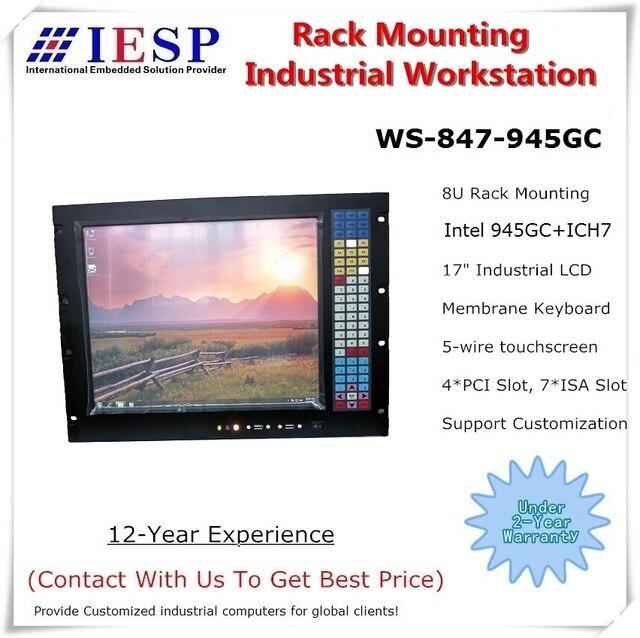 8U de montaje en Rack Industrial computadora 945GC Chipset 17 pulgadas LCD LGA775 CPU 2GB RAM 500GB HDD montaje en rack industrial estación de trabajo
