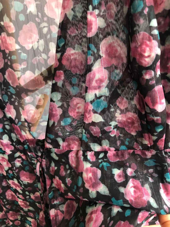 Vestido feminino 2019 primavera e verão puff manga impressão v-neck vestido de renda para férias vestido de praia
