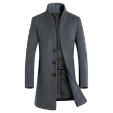 Men Winter Long Sleeve Stand Collar Buttons Pockets Warm Woolen Trench Coat coll