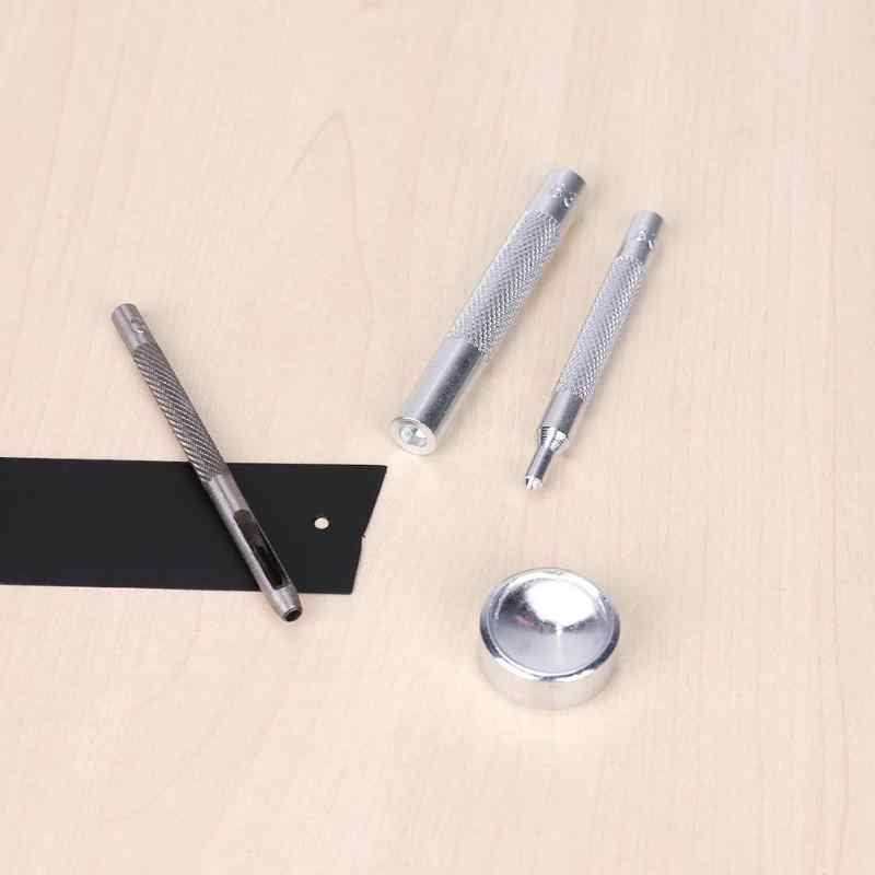 4 Pcs Logam Jepret Pengencang Tekan Kancing Tombol DIY Punch Alat Instalasi Manual DIY Alat Pukul Bahan Aksesoris