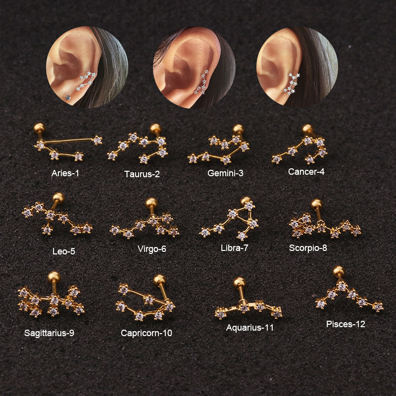 1Pcs Twelve Constellation Cartilage Earring Stainless Steel CZ Stud Earring Cartilage Helix Lobe Screw Back Ear Piercing Jewelry(China)