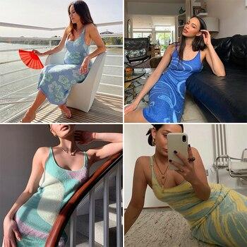 FSDA 2021 принт вязаное облегающее платье женское зеленое Y2K летнее Открытое сексуальное платье без рукавов на бретельках пляжное платье миди платья Вечерние 3