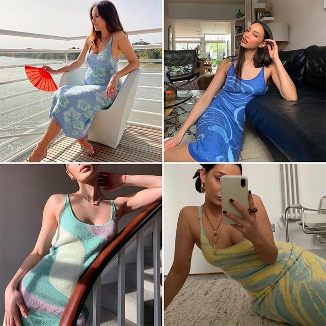 FSDA 2021 Print Knit Bodycon Dress Women Green Y2K Summer Hollow Out Sexy Sleeveless Spaghetti Strap Beach Midi Dresses Party 3