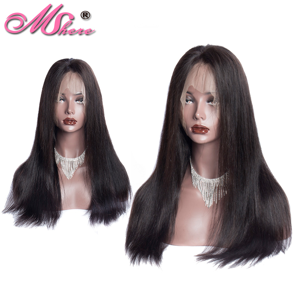 13x4 Mshere Long Straight Lace Frontal Human Hair Wigs Brazilian Hair Wigs Lace Frontal Wig with Baby Hair Pre Plucked 150% Remy-in Human Hair Lace Wigs from Hair Extensions & Wigs    1