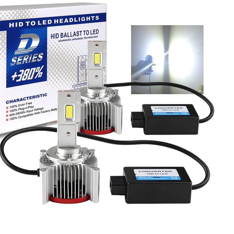 2Pcs D1S D4S D2S LEVOU canbus luz do carro farol D3S D1R D2R D3R D4R D5S D8S 70W 12000LM Kit Lâmpadas LED Substituir HID Conversion