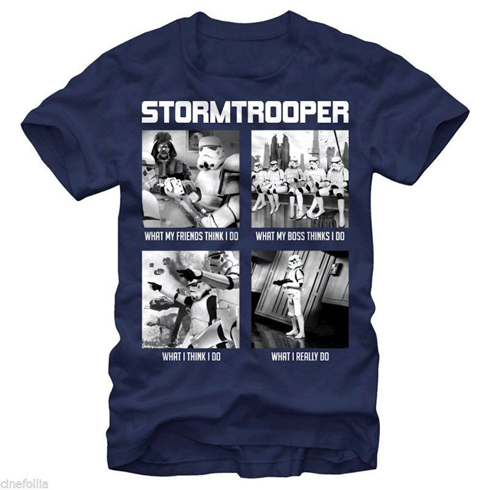 T-Shirt Star Wars What Troopers Do Stormtrooper Meme Man Jersey Fitness Tee Shirt image