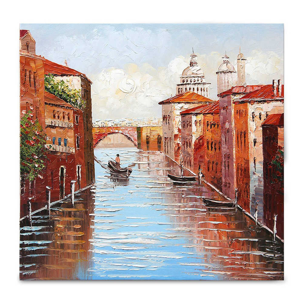 100% Handmade Rich texture Landscape Picture Home Decor Oil Paintings On Canvas Venice The City of Water Picture For Living Room