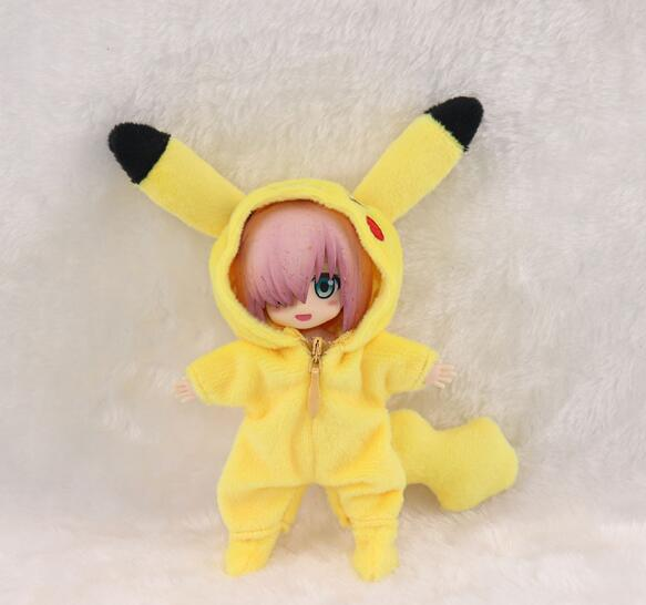 Pikachu Cosplay Set Clothes For Nendoroid Obitsu11 OB11 1/12 Doll Available For Cu-poche OB11 Doll Accessories Doll Clothes