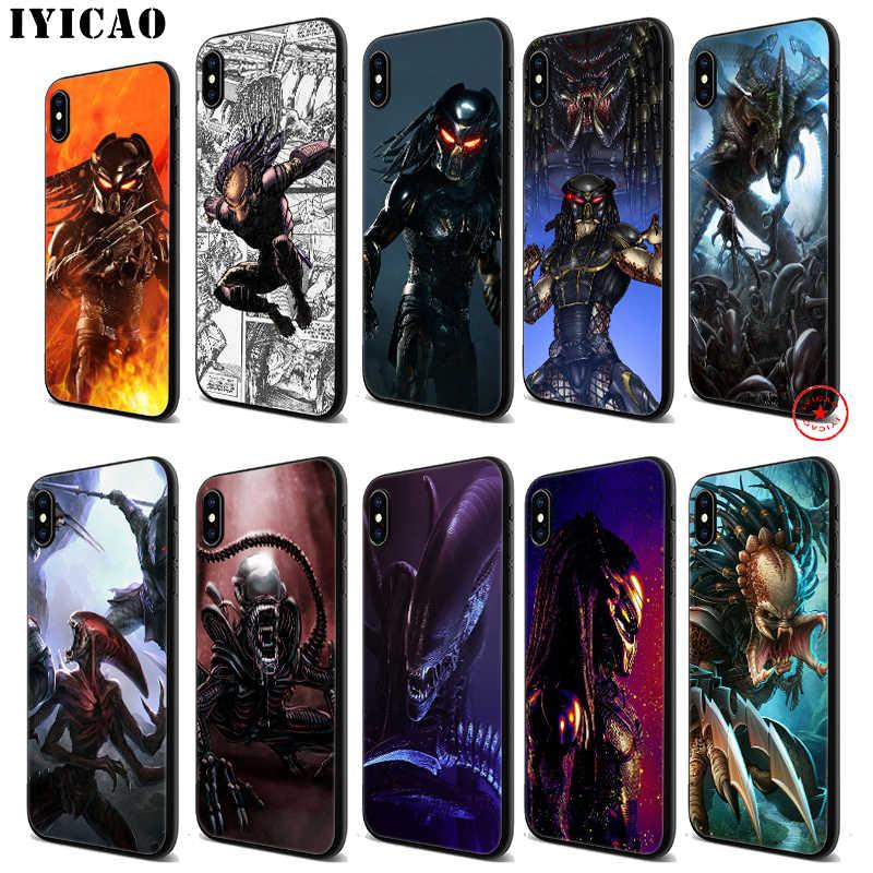 IYICAO Alien vs Predator Weichen Schwarz Silikon Fall für iPhone 11 Pro Xr Xs Max X oder 10 8 7 6 6S Plus 5 5S SE