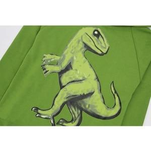 Image 3 - Enfants garçons dinosaures T Shirt printemps et automne enfants à capuche à manches longues pull haut pour enfants vêtements 100% sweat à capuche en coton T Shirt