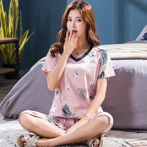 Image 5 - Conjunto de pijamas femininos de tamanho grande, camisola de manga curta macia, estampa de animais de pássaros, pijamas femininas, verão M 4XL