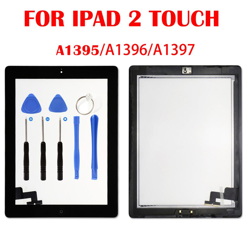 For IPad 2 Touch Screen  A1395 A1396 A1397 Touch Digitizer Sensor Glass  FrameOuter Touch Screen Front Glass Panel Replacement