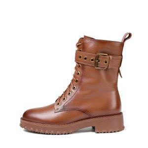 Image 2 - QUTAA 2020 암소 가죽 플랫폼 레이스 업 버클 지퍼 패션 여성 신발 스퀘어 힐 라운드 투 겨울 앵클 부츠 크기 34 42