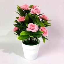 1 Набор искусственных цветов розы растения в горшках бонсай гостиной офиса сада декор