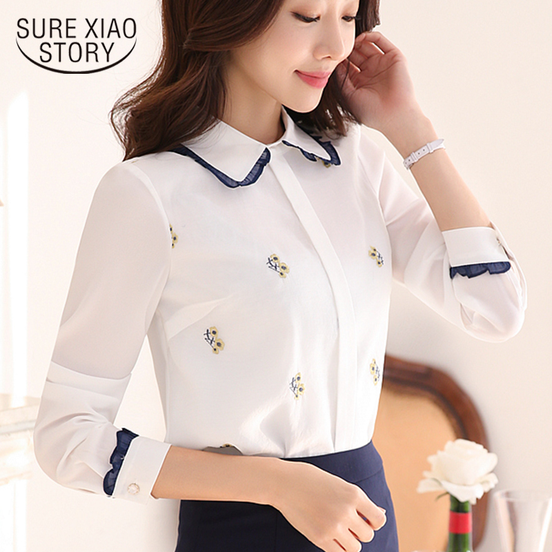 Ladies Tops Fashion 2019 Blusa Feminina Camisa Mujer Manga Larga Long Sleeve Office Shirts Embroidery Peter Pan Collar 6952 50