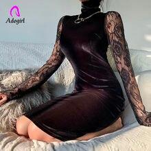 Черные сексуальные платья с кружевными рукавами 2020 женское