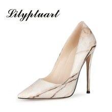 Moda retro padrão de pedra branco feminino único sapatos super salto alto boca rasa couro patente saltos altos 46/47 grande tamanho