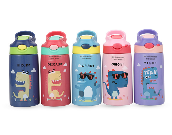 350ml <font><b>Baby</b></font> Dinosaur Stainless Steel Milk Thermos Feeding Cup for Children Insulated hot water Bottle leak-<font><b>poof</b></font> thermal Cup image