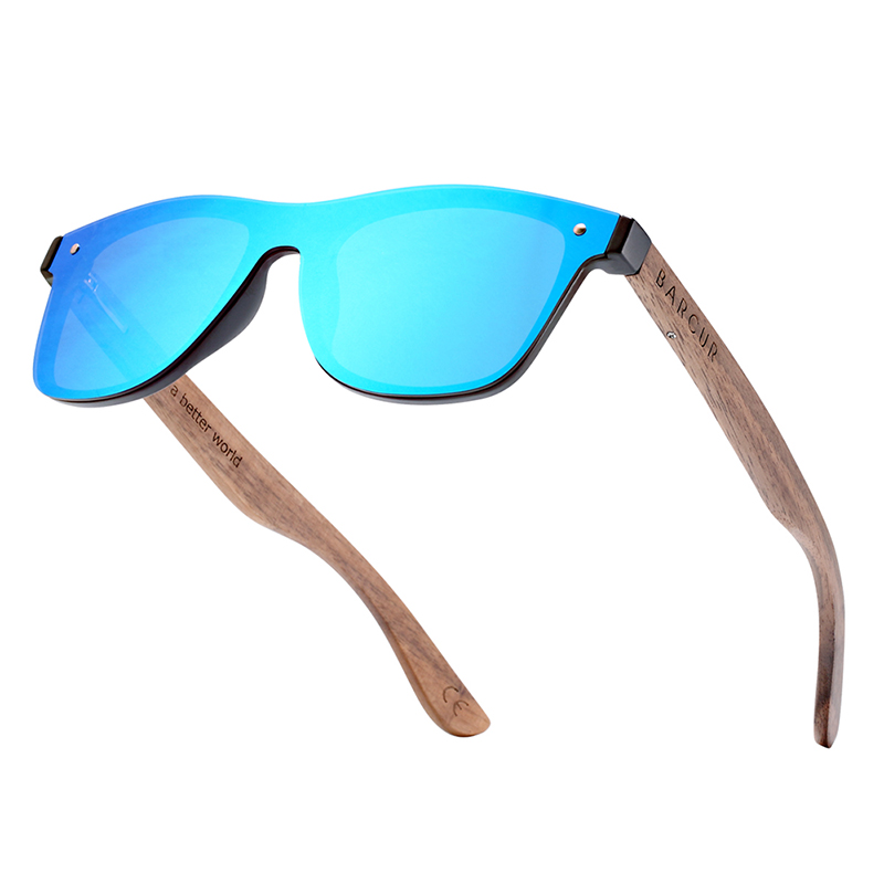 BARCUR Walnut Sunglasses for Men Polarized Wood Sun glasses UV400