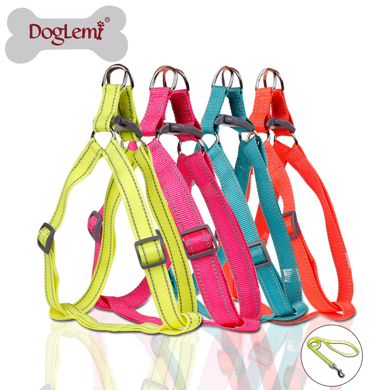 Fluorescent Reflective Nylon Dog Breast Collar Hand Holding Rope Big Dog Golden Retriever Chest And Back With Pet Dog Collar Nyl