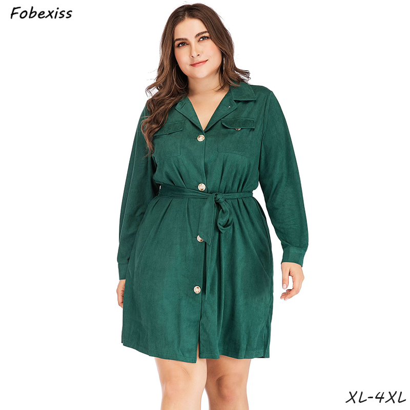 Green Shirt Dress Woman Plus Size 4XL Long Sleeve Cotton Belted Office Lady 2019 Clothes Spring Autumn